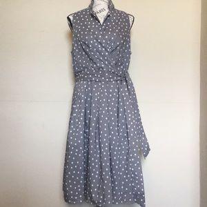 Evan-Picone gray w/white polka dot midi dress sz14